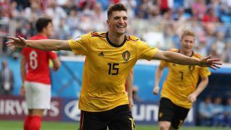 Thomas Meunier festeja su gol contra Inglaterra en Rusia 2018