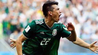 Lozano celebra su gol frente a Alemania