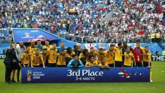 Bélgica durante la premiación de tercer lugar