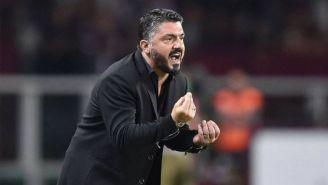 Genaro Gattuso lanza un grito en un juego del Milan
