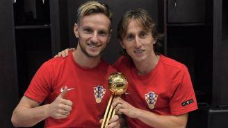 Modric y Rakitic sonríen luego de haber perdido Final frente a Francia