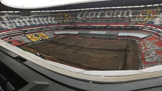 El Estadio Azteca, sin pasto previo al arranque del A2018