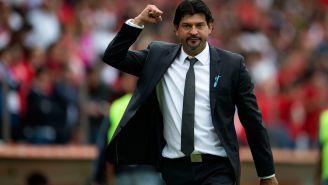 Pepe Cardozo celebra una victoria en el Nemesio Díez