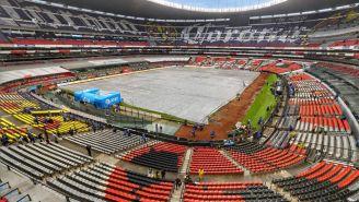 Cancha del Estadio Azteca luce cubierta previo al América vs Monterrey