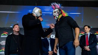 Psycho Clown y el Hijo del Fantasma en el clásico careo