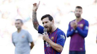 Messi habla para los fans blaugranas en el Camp Nou