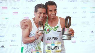 Germán Silva y Benjamín Paredes tras concluir el Maratón CDMX