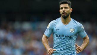 Agüero en partido con el Manchester City