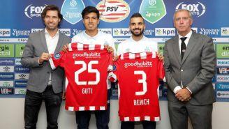 Guti durante su presentación con el PSV