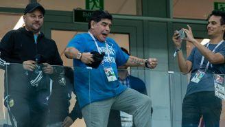 Maradona, durante un partido en el Mundial de Rusia 2018