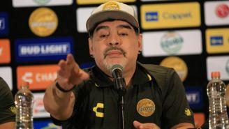 Armando Maradona, durante su presentación con Dorados