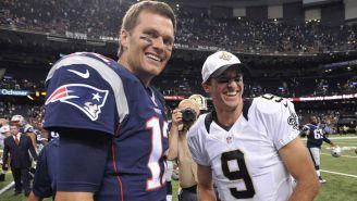 Tom Brady y Drew Brees se saludan tras un partido