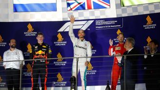 Hamilton, Verstappen y Vettel en el podio de Singapur