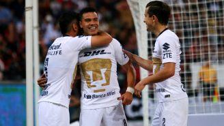 Pumas festeja gol de Pablo Barrera en la J3 del A2018
