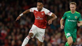 Aubameyang en partido con el Arsenal