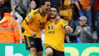 Jiménez celebra un gol con el Wolverhampton