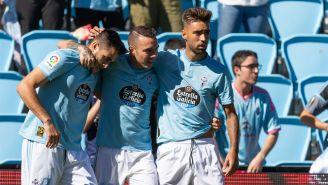 Jugadores del Celta celebran una anotación frente al Valladolid