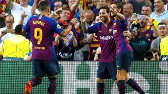 Barcelona celebra una anotación frente al PSV Eindhoven