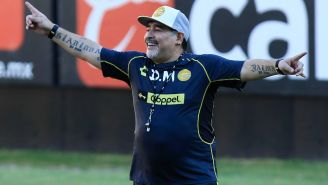 Maradona luce feliz durante una sesión con Dorados