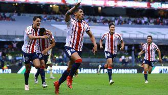 El festejo de las Chivas en el partido contra América del A2018