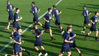 Selección italiana durante un entrenamiento