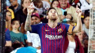 Messi celebra una anotación con el Barcelona