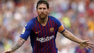 Messi celebra una anotación con el Barça en España
