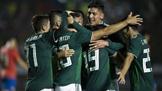 Selección Mexicana celebra una anotación ante Costa Rica