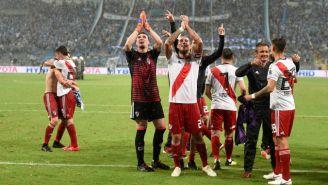 Jugadores de River Plate celebran triunfo en Copa Libertadores