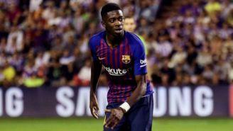 Dembélé corre en un juego del Barcelona