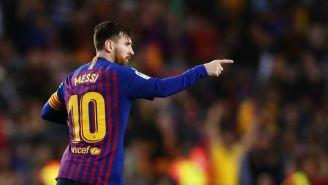 Messi, celebra anotación con el Barcelona