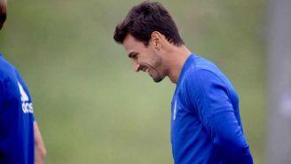 Alanís, en entrenamiento con el Real Oviedo