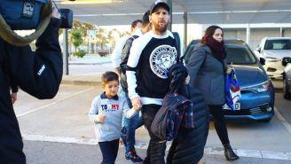 Messi y su hijo Thiago rumbo al Bernabéu