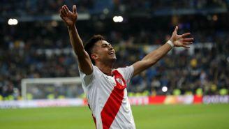 Juan Fernando Quintero festeja su gol vs Boca