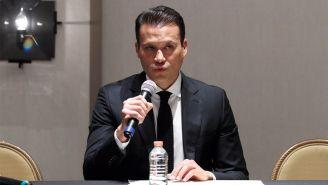 Aarón Galindo, en una conferencia de prensa