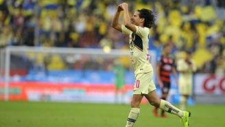 Lainez festeja gol en el Azteca