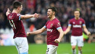 Rice y Cresswell festejan gol contra Arsenal