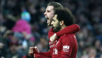 Salah festeja su gol frente al Brighton & Hove Albion