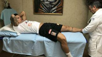 Carlos Salcedo, en sus pruebas médicas