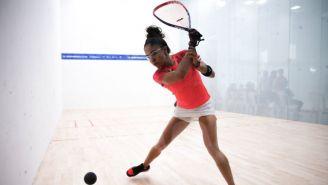 Longoria durante una competencia de Racquetbol