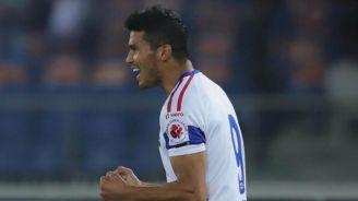Ulises Dávila festeja un gol con el Delhi Dynamos