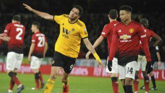 Raúl Jiménez festeja su gol frente al Man Utd en FA Cup