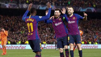 Barcelona festejando un gol ante el Lyon