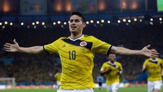 James Rodriguez celebra con Colombia