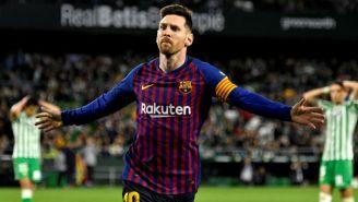 Lionel Messi festeja uno de sus goles frente al Betis