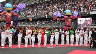 Los niños acompañaron a los pilotos de F1 en el emparrillado