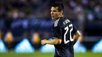 Lozano durante un partido con la Selección