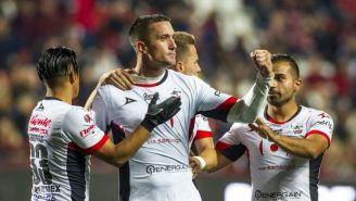 Leonardo Ramos festeja un gol frente a Xolos de Tijuana
