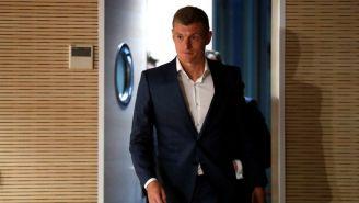 Toni Kroos, a su llegada a la conferencia tras renovar con el Madrid