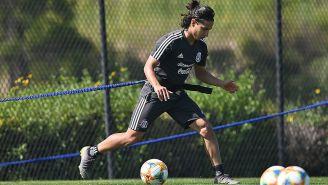 Diego Lainez en un entrenamiento del Tri